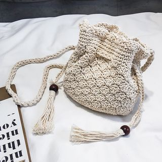 Tasseled Drawstring Bucket Bag White - One Size from FAYLE