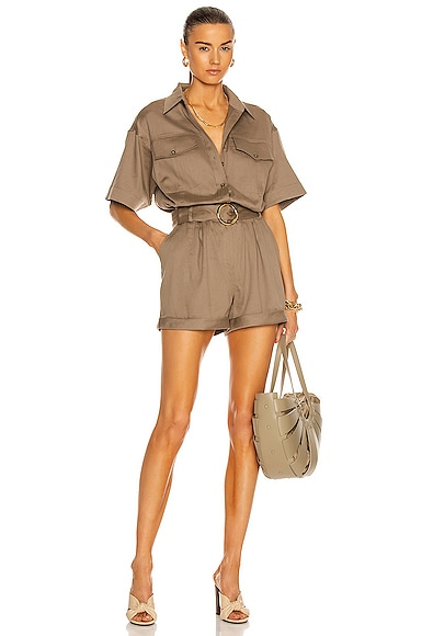 FRAME Arie Romper in Olive from FRAME