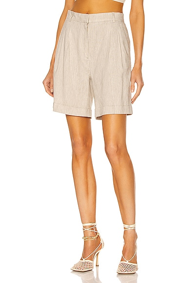 FRAME Pleated Short in Beige from FRAME