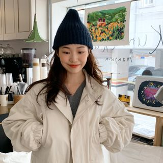 Rib-Knit Beanie from FROMBEGINNING