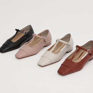 Square-Toe T-Strap Flats from FROMBEGINNING