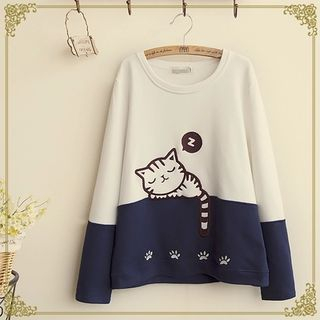 Cat Print Two-Tone Sweatshirt from Fairyland