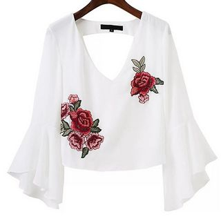 3/4-Sleeve Embroidered Ruffled Top from Fancy Show