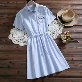 Cat Embroidered Short-Sleeve A-Line Dress from Fancy Show