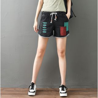 Color Block Denim Shorts from Fancy Show