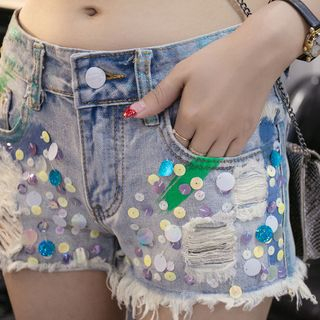 Distressed Sequined Denim Shorts from Fancy Show