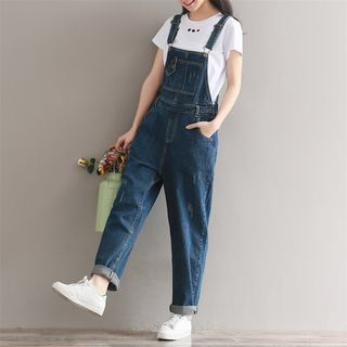 Distressed Straight-Leg Suspender Jeans from Fancy Show