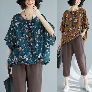 Elbow-Sleeve Floral Print Top from Fancy Show