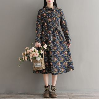 Flower Print Midi A-Line Collared Dress from Fancy Show