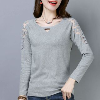 Lace Panel Long-Sleeve T-Shirt from Fancy Show