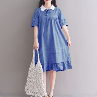 Lace-Up Short-Sleeve Collared Dress from Fancy Show
