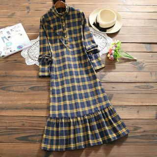 Long-Sleeve Check Ruffled Dress from Fancy Show