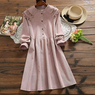 Long-Sleeve Corduroy A-Line Dress from Fancy Show