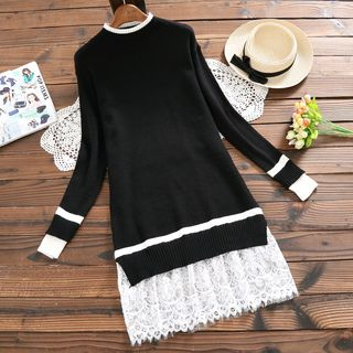 Long-Sleeve Lace-Panel Knit Top from Fancy Show