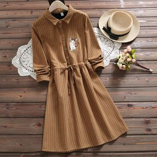 Long-Sleeve Pinstriped Cat Embroidered Shirtdress from Fancy Show