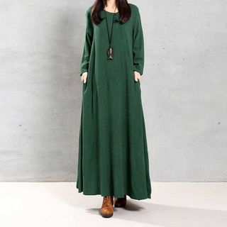 Long-Sleeve Plain Maxi A-Line Dress from Fancy Show
