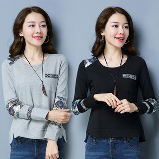 Long-Sleeve Printed Panel Top from Fancy Show
