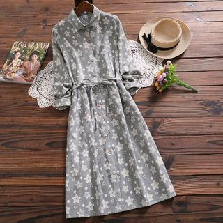 Long-Sleeve Star Print Midi Shirtdress from Fancy Show