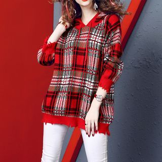 Plaid Hooded Long Sweater from Fancy Show
