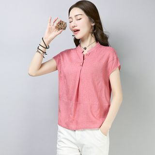 Plain Short-Sleeve Blouse from Fancy Show