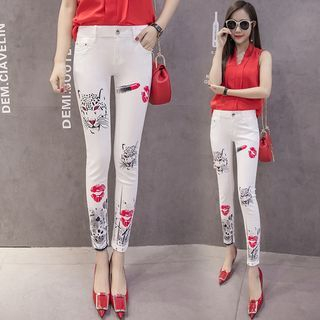 Printed Skinny Cropped Jeans from Fancy Show