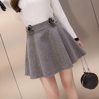 Rose-Accent Mini A-Line Skort from Fancy Show