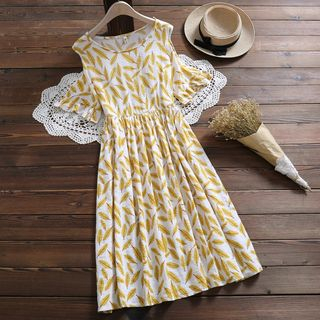 Short-Sleeve Cold Shoulder Patterned A-Line Midi Dress from Fancy Show