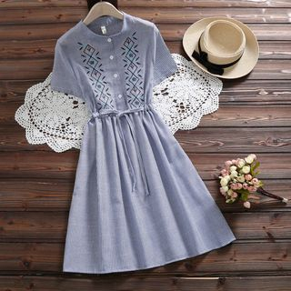 Short-Sleeve Embroidered Dress from Fancy Show