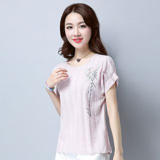 Short-Sleeve Embroidered Top from Fancy Show