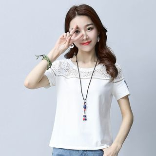 Short-Sleeve Lace-Panel Top from Fancy Show