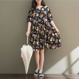 Short-Sleeve Patterned Dress from Fancy Show