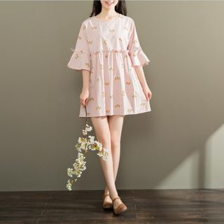 Short-Sleeve Printed Ruffled Dress from Fancy Show