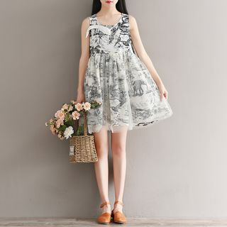 Sleeveless Patterned Dress from Fancy Show