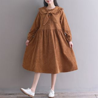 Tie Neck Long-Sleeve Midi A-Line Corduroy Dress from Fancy Show