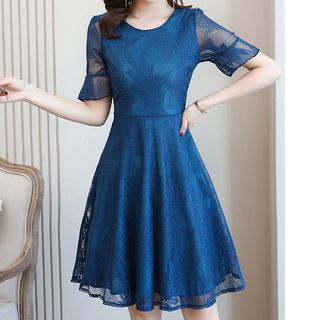 Bell-Sleeve Lace A-Line Dress from Fashion Street