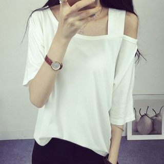 Cold Shoulder Elbow-Sleeve T-Shirt from Fashion Street