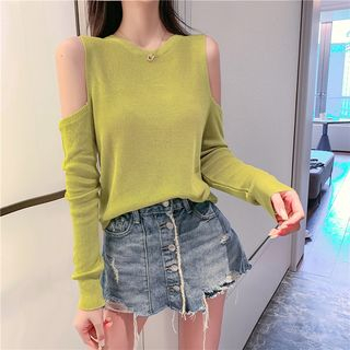 Cold Shoulder Long-Sleeve Knit Top from Fashion Street