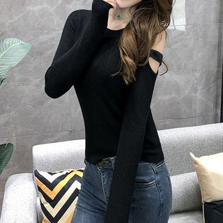 Cold-Shoulder Ribbed Knit Top from Fashion Street