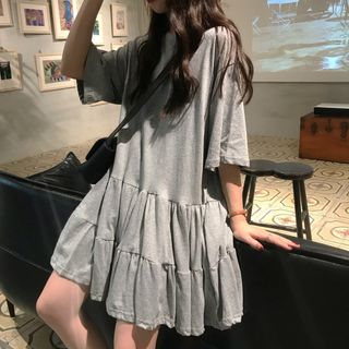 Crew-Neck Elbow-Sleeve Babydoll Dress from Fashion Street