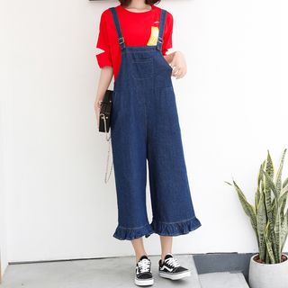 Cropped Wide-Leg Denim Dungarees from Fashion Street