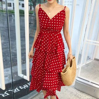Dotted Midi Spaghetti Strap A-Line Dress from Fashion Street