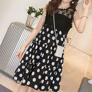 Dotted Sleeveless A-line Dress from Fashion Street