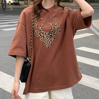 Elbow-Sleeve Deer Print T-Shirt from Fashion Street