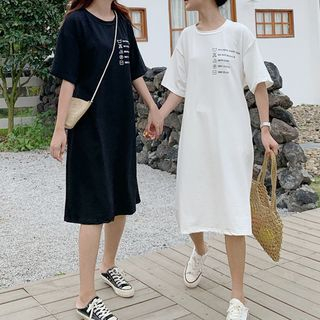 Elbow-Sleeve Print T-Shirt Dress from Fashion Street