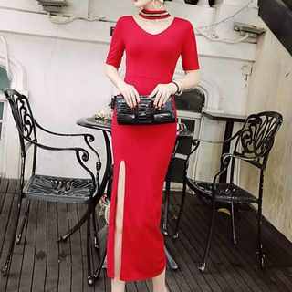 Elbow-Sleeve Sheath Slit Midi Dress from Fashion Street
