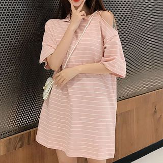 Elbow-Sleeve Striped Cold-Shoulder T-Shirt from Fashion Street