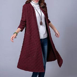 Embossed Open Front Coat from Fashion Street