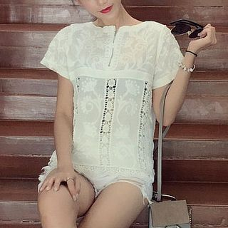 Lace Short-Sleeve Top from Fashion Street