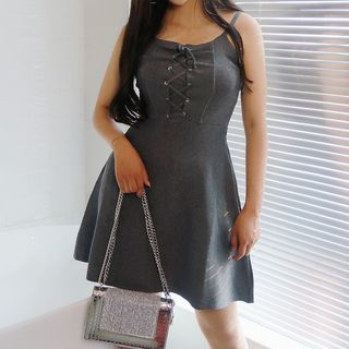 Lace Up Front Spaghetti Strap A-Line Dress from Fashion Street