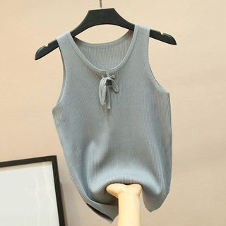 Lace-Up Knitted Tank Top from Fashion Street